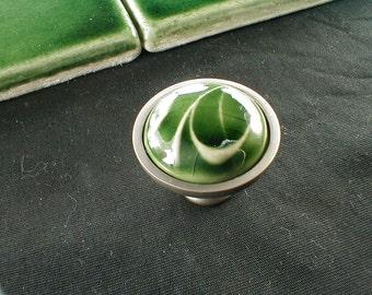 Cabinet knobs in dark green translucent crackle glaze, kitchen cabinet hardware