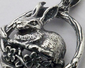 Bunny Rabbit Brambles Pendant - Handmade in 14k Gold or Sterling Silver