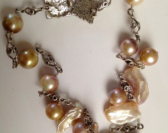 Tribal Unique Cultured Pearl Necklace