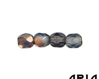 MONTANA BLUE TWILIGHT: 4mm Faceted Round Firepolish Czech Glass Beads (50 beads per strand)