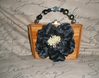Black Flower cigar Box Purse, A. Fuente, Best Seller, Wooden- Must See!