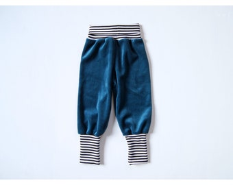 velour baggy pants petrol organic cotton with striped cuffs,toddler velvet pants petrol,kids organic velour pants striped,baby velour pants