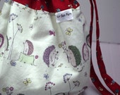 Hedgehogs, Snails and Flowers bag with cotton fabric ties for knitting & craft projects (small)