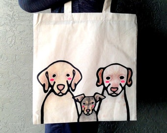 Custom Pet Tote - THREE Pets - Custom Pet Portrait - Custom Tote Bag - Canvas Tote Bag - Pet Tote Bag - Pet Moms - Gift for Pet Lovers