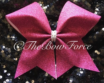 All Glitter Hot Pink Cheer Bow