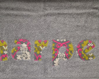 Personalized Child Name Appliqué Towel -  Bath, pool, beach towel, swim lessons, kids birthday gifts, new baby gift