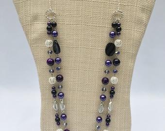 Bergie-Ravens necklace, NWU Neckalce,Purple Black Necklace, football necklace, Baltimore Ravens necklace, purple necklace,Game Day necklace