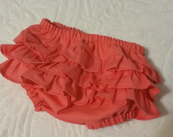 Ruffle Diaper Cover, Coral diaper cover, Baby girl diaper cover, Infant diaper cover, Toddler diaper cover