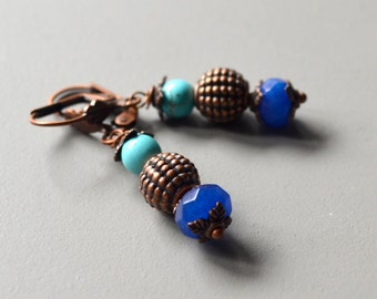Earrings copper blue stone earrings