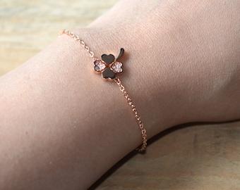 Pink gold clover bracelet zirconium