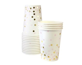 Pink and Gold Confetti Party Cups (Set of 12)