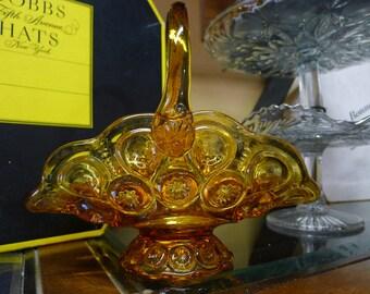 Amber glass Moon and Stars basket