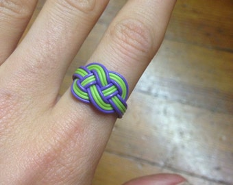 Lime/Purple Recycled Telephone Ring. Size 7