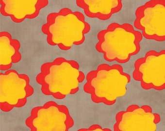 Moda From Outside In Orange Red Yellow on Seed Grey Flowers Malka Dubrawsky Fabric BTY