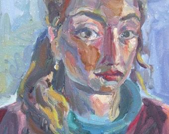 ORIGINAL OIL PAINTING-Vintage self-Portrait-Oil on Board