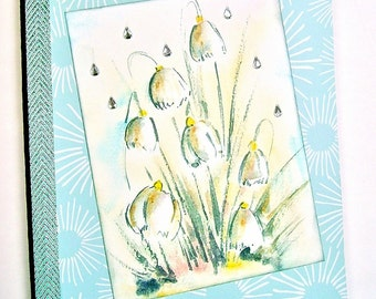 Altered notebook, Journal, Composition book, Memory book, Lined pages, Aqua floral, Dewdrops, Snowdrops, Diamond raindrops, Silver ribbon