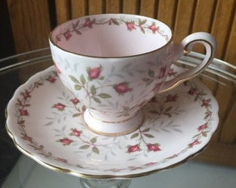 Sweet vintage Tuscan bone china Charmaine pattern demitasse cup and saucer