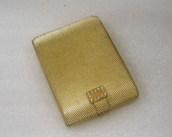 Vintage Max Factor Compact / Regency Golden Weave Design /  Rhine stone Closure / Pressed Powder Section Complete