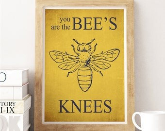 Bee Art Typographic poster Quote art, inspirational print, wall decor, Digital print, Yellow Decor, Bee Decor