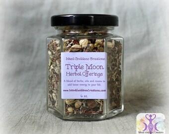 Triple Moon Herbal Offerings, Casting Herbs, Herbal Bath Tea for Full Moon, New Moon, Moon Magick