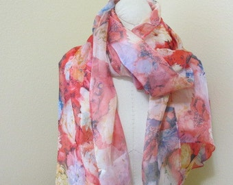 Painted Silk Scarf, beautiful peonies, mother of the bride