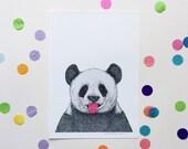 TONGUE OUT PANDA / Signed print by Niki Pilkington