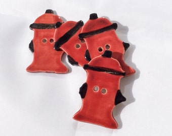 Ceramic Buttons - Fire Hydrant Button - Red Fire Hydrant Button - Ceramic Red Fire Hydrant