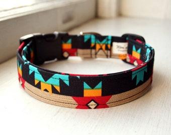 Tribal Dog Collar, Southwest Dog Collar, Designer Dog Accessory, Pet Accessories, Adjustable Collar, Fabric Dog Collar, Plastic Nickel Brass