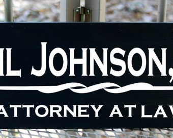 Personalized lawyer wood sign - attorney at law