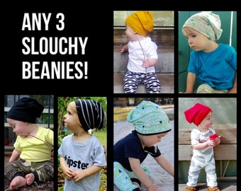 You Pick! His or Her Baby Slouchy Beanie Bundle/Jersey Knit Slouch Hipster Beanie Hat/Hipster Baby Clothes/Custom/Newborn/Hipster