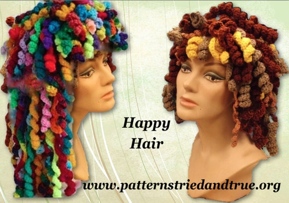 Crochet Pattern, Happy Hair Hat, Disguise a bad hair day, use leftover yarn for new hairdo, making crochet curls, Hippy Fun Hat