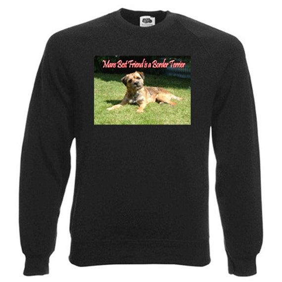 Border Terrier Sweatshirt. Fleecy Lined Ribbed Cuffs and Neck, Choice of Sizes and colours