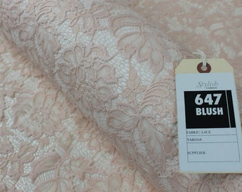 Blush Beauty Coleen Pattern Floral Stretch Lace Fabric by Yard - Style 647