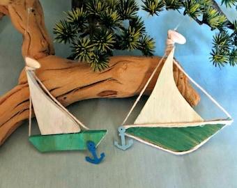 Two sail boat ornaments_beach decor ornaments