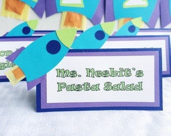 Toy Story Birthday Party Food Cards ; Buzz Lightyear Birthday ; Rocket Ship Party Decor Table Tents ; Boy Birthday Party Decor ; Food Labels