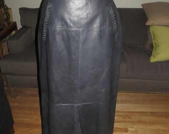 Vintage Lambskin Black Leather Full Length Pencil Skirt , Front Pockets , Front and Back Suede Inverted pleats , Size 10