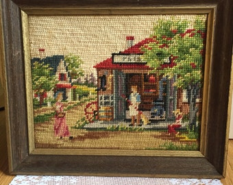 Vintage 1970s Needlepoint Art Framed Shop Store Town Scene