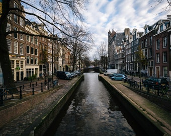 The Leliegracht canal, in Amsterdam, The Netherlands - Photography Fine Art Print or Wrapped Canvas