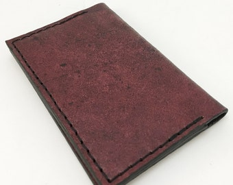 Rich mahogany tooled leather business card hold or slim wallet - business card case