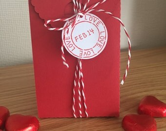 Valentines Gift Box Small Red Box with Paper Twine & Gift Tag