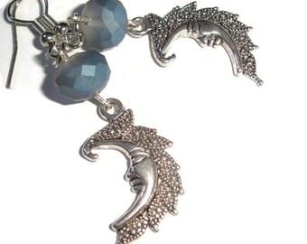 Moon Earrings Crescent Moon Crystal Earrings Blue Rainbow Earrings Hypoallergenic earrings crystal glass blue silver hypoallergenic wire