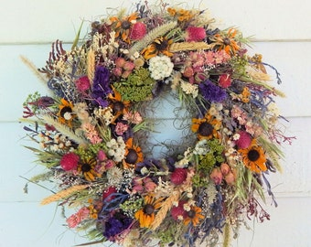"Fall Dried Flower Wreath, ""Nature's Treasures"" Dried Floral Wreath, Year Round Wreath, Door Wreath, Flower Wreath, Centerpiece, Candle Ring"