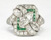 Art Deco 1930's 1.87ct t.w. Marquise Diamond & Emerald Platinum Engagement Ring