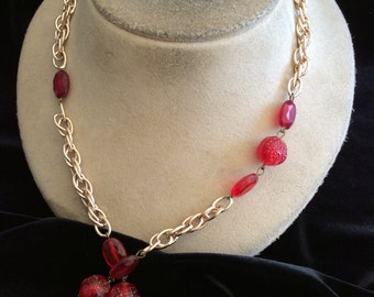 Vintage Long Red Beaded Chain Necklace