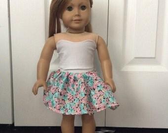 American Girl Doll Floral Skirt & Bustier