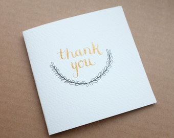 Handmade Gold Thank You Cards (pack of 5)