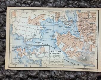 1907 Victoria & Esquimalt Canada Map [5.9 x 3.9 in.] Rare Original 1907 Vintage Map