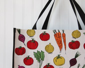 Farmers Market Vegetables Shopping Bag - Carrots - Tomatoes - Beets