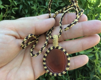 "Carnelian Macrame Wrapped Pendant 24"" long necklace"