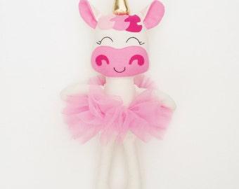 Unicorn doll - fabric doll  - handmade doll - rag doll - girls room decor - dress up doll - cloth doll - unicorn - plush - unicorn birthday